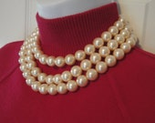 Vintage Triple Strand Faux Pearl Choker, Creamy white larger beads, Hook style back clasp, Unsigned, Very wearable classic style
