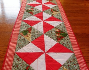 "Extra Long Quilted Christmas Holiday Table Runner 16"" x 65.5"" Pinwheel Pattern Long Table Topper Wall Quilt"