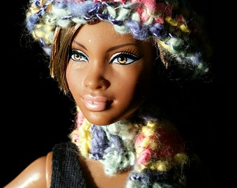 Barbie Artistic Hand Knitted Hat and Scarf Set