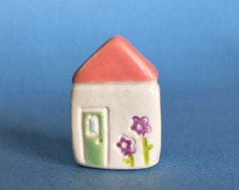 Little flower House Collectible Ceramic Miniature Clay House orange white