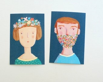 2 postcards, man and woman, flowers, home decor, wall decor, art, illustration