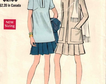 1970s Vogue 7735 Retro Mod tunic and pleated skirt Sewing Pattern Vintage Size 12