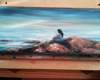 "Oil Painting Seascape Beach Girl Sitting 4"" x 12"" READY to SHIP"