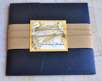 Pocket Fold Wedding Invitation Design Fee (Fall Oak Leaves Design with Twine and Skeleton Leaf)