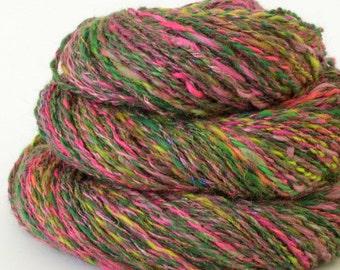 Handspun Yarn -  Spindle Spun Silk and Merino Yarn - Art Yarn- 1.5oz, 180yd, 18WPI