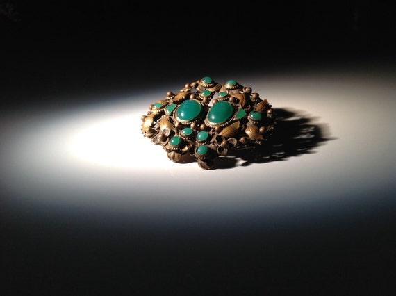 1920 Czech Jade Glass Buckle Brooch