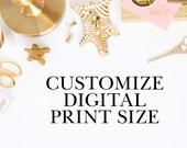 Customize Digital Design Size