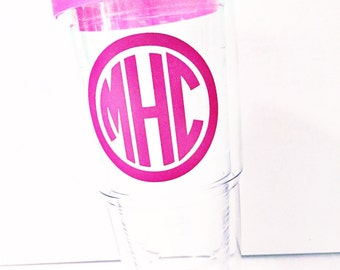 Monogrammed 24oz Tervis Tumbler with Lid / Clear Tervis Tumbler / Monogram Tumbler with Lid / 24oz Tervis Tumbler with Lid / Acrylic Tumbler