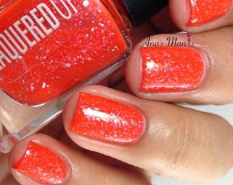 Fiery Cracker// Handmade Silver Glitter Nail Polish// Neon Red// Vegan// Cruelty Free