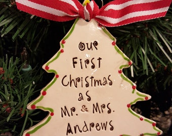 Personalized Couples Wedding Large Ornament - Newlywed Christmas ornament - Christmas tree ornament, first christmas, personalized wedding