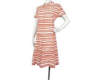 Vintage 60s Dress - 60s Mod Dress - 60s Scooter Dress - Red Tan - Tiger Stripes - Pleated Dress - Large - XL - XXL - 60s Striped Dress
