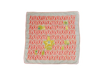 Vintage 50s Handkerchief - Tammis Keefe - Tammis Keefe Handkerchief - Lobsters - Novelty Print - Starfish - Seashells - Gray Red Green Scarf