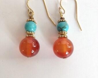 Carnelian & Turquoise Gemstone Drop Earrings