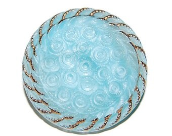 Blue and Gold Czech Glass Button; 28mm Cabachon