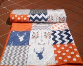 Baby quilt-Baby Boy bedding,baby girl quilt,arrows,deer,stag quilt,woodland quilt,navy blue,grey,orange,rustic baby quilt,chevrons,Navy Stag