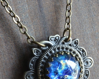 Neo victorian Jewellery - Necklace - Blue Harlequin glass Pendant