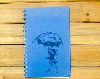 Umbrella cute blue  Notebook / Recycled Morton Salt Girl Book Journal