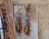 Boho Chandelier Earrings Jasper Jade Multi Color Antique Copper Green Yellow Red 1.99 Shipping USA