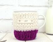 Mug and Cosy - Chunky Knit Purple and Cream Mug Cozy - Personalised Knitted Mug Cosy - Hand Knitted Mug Cosy and Mug - Birthday Tea Gift