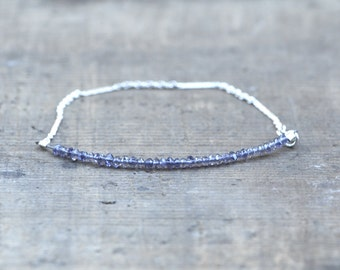 Dainty Blue Iolite and Sterling Silver Chain Bracelet