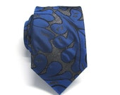Mens Ties Royal Blue Silver Black Floral Pattern Necktie With Matching Pocket Square Option