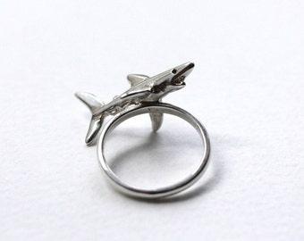Shark Ring, Sterling Silver & Black Diamond Eyes, Handmade Silver Shark Ring, Brighton, UK