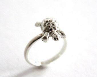 SALE! Tortoise Ring, Sterling Silver, Black Diamonds, Handmade, Reptile Ring, Handmade in Brighton