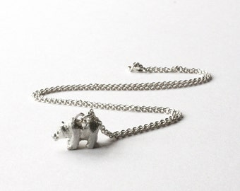 SALE! Bear Necklace, Sterling Silver, Diamond Eyes, Grizzly Bear, Handmade Precious Necklace, Made in England.