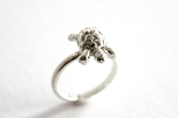 tortoise ring sterling silver black diamonds handmade