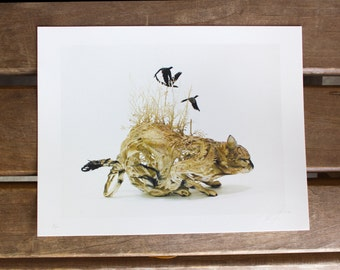 Lybica Waiting (wild cat with birds) - Original Giclee Limited Edition Print - 8.5x11""
