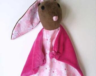 Baby Bunny Blanket , All Natural Materials, Pink Daisies