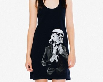 Storm trooper Smart Trooper Racerback Tank Mini Dress, black midi dress, gift mom, geek fashion, star wars dress, Mother's day gift