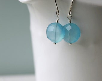 Blue Chalcedony Dangle Earrings / Gemstone Silver Jewelry / Sterling Silver Earrings / Sky Blue Gemstone / Sky Blue Gemstones /