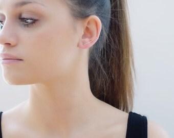 Miranda Earrings- 14K gold line earrings,  minimal earrings, modern, geometric, threader earrings, solid gold, ear cuff, sleek bar