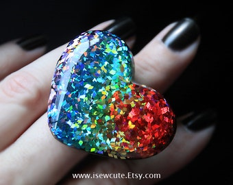 Rainbow Glitter Ring, ROYGBIV, adjustable heart shaped colorful cocktail ring - all the colors of the rainbow, handcrafted resin by isewcute