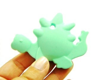 Silicone Baby Teething Toy. dinosaur baby boy teether. mint dinosaur teether. silicone baby teether. silicone teether toy. #296011