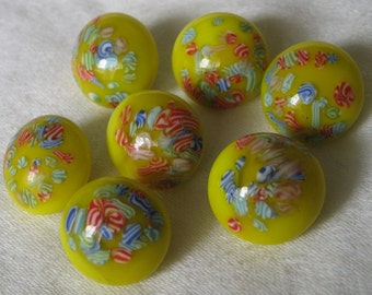 Set of 7 VINTAGE Yellow Millefiori Overlay Glass BUTTONS