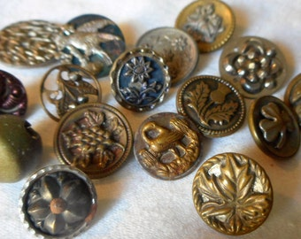 Lot of 16 ANTIQUE Small Variety Metal BUTTONS   16M