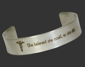 Graduation Gift, Promotion Gift, Friend Gift- Stainless Steel Cuff  Encouragement Graduation, Custom Personalized Bracelet