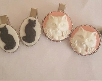 Cat, Cat hair clips, Cat clips, Cat jewelry, Kitty clips, Kitty, Meow, Kitty jewelry, Cat barrettes, Black cat