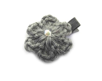 Gray Hair Clip Gray Crochet Flower Hair Clip Crochet Alligator Clip Gray Crochet Hair Clip Baby Girl Hair Clip Toddler Girl Gray Flower