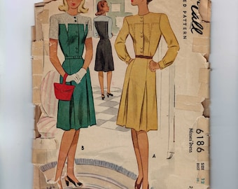 1940s Vintage Sewing Pattern McCalls 6186 Misses Tailored Dress with Front Button and Inverted Pleated Skirt Size 12 Bust 30 40s