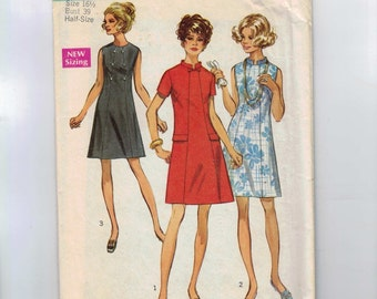 1960s Vintage Sewing Pattern Simplicity 8603 Misses Half Size One Piece A Line Dress Size 16 1/2 Bust 39 60s 1969