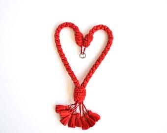 red tassel upholstery tassels or curtain trim drape or cord pull tassle braided fancy home decor
