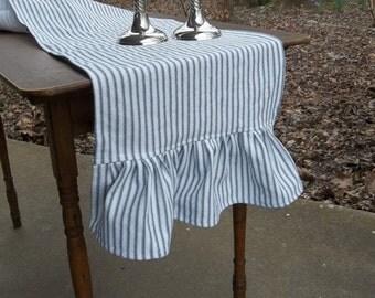 Custom Table Runner | Ruffled Ticking Runner | Ruffled Runner | Wedding Decorations Table Decor French Country Cottage Chic Custom Colors