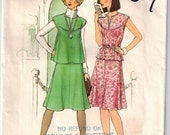 Vintage 70s Two Piece Dress Sewing Pattern Sz Med Busts 34 36 A-line Skirt Back Zipper Elastic Waist Top-Stitch Top Slit Opening Cap Sleeves
