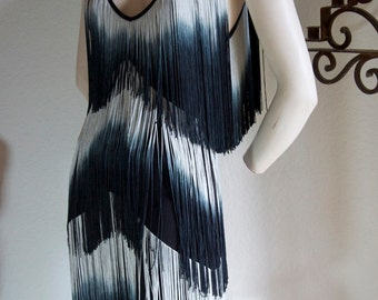 Vintage 20s Style Flapper Art Deco Silk FRINGE Sleeveless Evening Black New Years Dress M