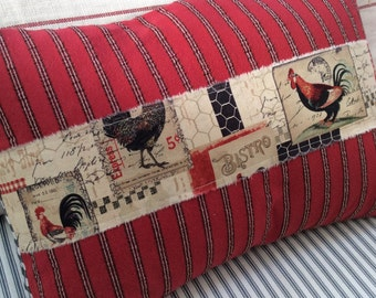 Country French Chicken Pillow/Rooster/ShaBBy Chic/Black Check/ Ribbon/Decorative 12x16 Throw Pillow/Beach D
