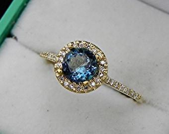 AAAAA Blue Santa Maria Aquamarine Natural Untreated 6mm Round 18K Yellow gold Halo ring .30 carats of diamonds 0810