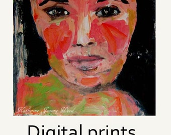 Pink & Lime Green Expressionist Woman Portrait Painting Wall Art Prints